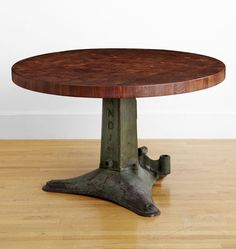 Salvage Stitching-Machine Dining Table  Vintage Iron Base with Black Walnut End-Grain Butcher Block Top