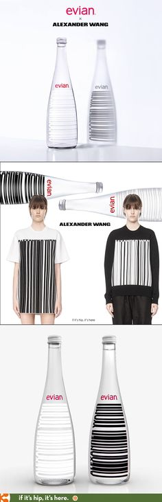 evian x Alexander Wang collaborate on the 2016 limited edition water bottles.