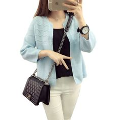 2016 Autumn&Winter Fashion Korean style Crochet Short knitting Cardigan Long sleeve sweater Womens Knitted Cardigan Candy colors