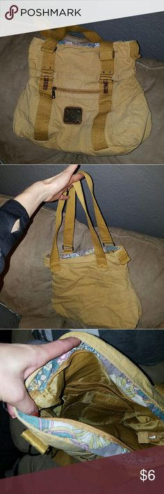 Yellow Purse Yellow purse from Target. In good condition.  2 outside pockets and 2 pockets inside with card holders too. Small cigarette burn on underside of one strap. Doesn't smell like smoke though, non smoking home here.  No label inside for brand name. Size is 13 x 13 inches. Zipper closer. Bags