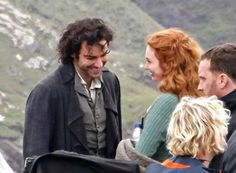 Aidan Turner and Eleanor Tomlinson filming Poldark at Botallack today,