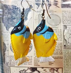 Fish Earrings - Yellow and Blue Earrings - Coral Fish Jewelry - Statement Earrings - Tropical Earrings - Upcycled Earrings - Yellow Jewelry, Yellow Earrings, Tropical Outfit, Coral Blue, Statement Earrings, Hand Knitting, Fish, Sale 50, Vintage Items