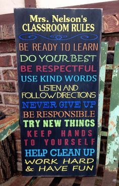 Personalized Classroom Rules Sign This would b neat for ur classroom robyn!