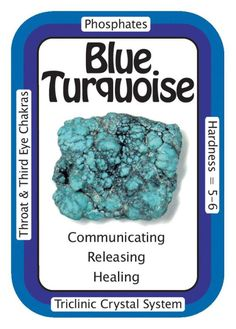 """Crystal Card of the Day: Blue Turquoise, """"I speak my truth with ease."""" Metaphysically, Turquoise is considered to be a bridge between Heaven/Sky and Earth, grounding us while still remaining open to Spirit. Many Native American cultures believe Turquoise helps to connect the mind to the infinite possibilities of the Universe, and Turquoise is considered sacred in many Chinese cultures as well. Turquoise is a wonderful companion to use when removing and releasing old behaviors such as self…"""