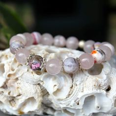 Rose quartz, agate and sterling silver bracelet