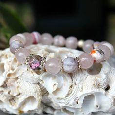 Rose quartz, agate and sterling silver bracelet