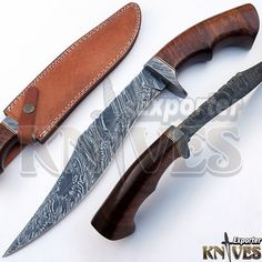 Knives Exporter Gorgeous New Damascus Pattern USA Bowie Knife Wooden Handle 301 #KnivesExporter