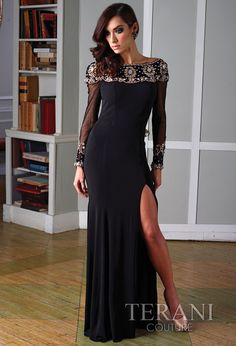 Style: J1394 Long sleeve jersey gown with fully beaded neckline.