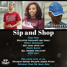Happy AGP 2018! FREE EVENT for all Greeks!  Join us Saturday June 23rd @zeuscloset RSVP Only  link  Bio #agp2018 #agp #atlantagreekpicnic #atlantagreekpicnic2018 #stuff4greeks #s4g #greekgear #greekparty #devine9 #customgear #exclusive#sipandshop #merch #embroidery #dtg #atl #atlanta #giveaways #lit