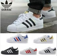 Adidas Fashion Reflective Shell-toe Flats Sneakers Sport Shoes