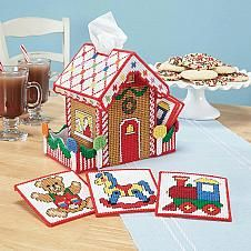 Herrschners® Toy Shop Tissue Box Cover & Coaster...