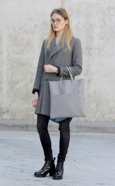 Grey tote bag  Vegan leather bag  Faux leather by Sugulovas