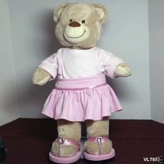Build A Bear Teddy Bear with pink skirt, top, sandals & underwear Plush Stuffed #AllOccasion