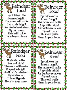 Fun in First Grade: Day 6 of Christmas Freebie: Give each student a sandwich bag. They put in a scoop of oatmeal and a sprinkle of green and red sugar sprinkles into the bag. Attach the freebie poem. On Christmas Eve they sprinkle it all over their ya Christmas Activities, Christmas Crafts For Kids, Christmas Printables, Christmas Projects, Christmas Traditions, Christmas Themes, Christmas Eve Box Ideas Kids, Toddler Christmas, Winter Activities