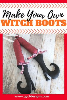 Make your own adorable witch boots for fall or Halloween decorating with this free witch shoe template and tutorial. Halloween Fabric Crafts, Homemade Halloween Decorations, Halloween Sewing, Fall Sewing, First Halloween, Halloween Season, Fall Crafts, Halloween Ideas, Fall Halloween