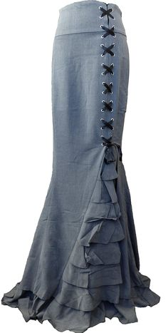 -Rainy Night in London- Gray Victorian Gothic Ruffle Steam punk Vintage Style Skirt (XS, Gray) at Amazon Women's Clothing store: