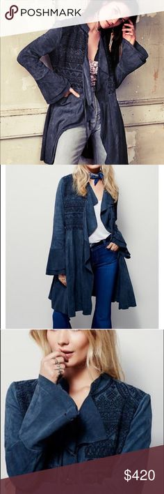 """Free People Navy Suede Embroidered Meadow Jacket d e s c r i p t i o n  Super luxe suede jacket with intricately embroidered stitching along the bodice. Tie closures at the front. Sweeping hem that lends way to an elevated, elegant silhouette. Subtle tiered bell sleeves. Hip pockets. Would fit a large as well. NO TRADES.   c o n t e n t  100% suede   m e a s u r e m e n t s ✂️  size + m 