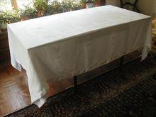 Damask Tablecloth Hemstitched Border Mums Dots Leaves