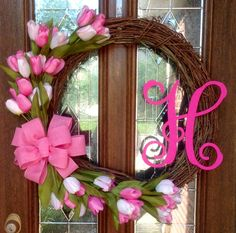 Tulip Wreath - Floral Wreath - Natural Vine Wreath - Initial Wreath - Rustic Wreath - Shabby Chic Decor - Housewarming Gift - Mother's Day Gift - Bridal Shower Gift