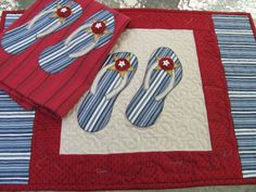 You have to see Flip Flops table runner and tea towel on Craftsy! - Looking for quilting project inspiration? Check out Flip Flops table runner and tea towel by member Quilt Doodle. - via @Craftsy