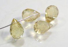 4 BEADSGenuine Lemon Citrine Faceted Briolette by beadbargains, $3.25