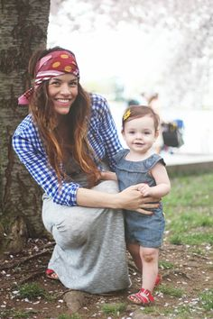 headband and gingham and gray.   perfect hippie mama.
