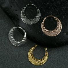 Μύτη με χάντρες διαφράγματος Ring Ring σώματος Κοσμήματα 925 στερεό Pearl Earrings, Hoop Earrings, Black Rhodium, Bohemian Jewelry, Rose Gold Plates, Body Jewelry, Septum Ring, 18k Gold, Piercing