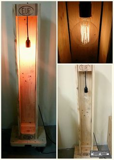 A beautiful project with pallets consisting of a lamp with a very attractive design. The luminaire is made from glow wire, giving it a very cool and warm lighting touch to the room. Pallet Projects Diy Garden, Framed Shower Door, Wood Lamps, Diy Pallet Furniture, Night Lamps, Diy Patio, Wooden Pallets, Candle Sconces, Lighting Design