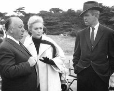Alfred Hitchcock, James Stewart, and Kim Novak on the set of Vertigo (1958)