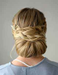 """Back view of """"Braided Embellished Smooth Bun"""""""