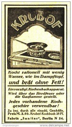 Original-Werbung/ Anzeige 1918 - KRUBOF BRÄT OHNE FETT / SANITAS BERLIN - ca. 45 x 80 mm