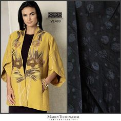 Vogue patterns calls this, 'The Jacket On Everyone's List', so interesting and so practical. Love the sleeve, and the style is just right for spring in to summer. Would make the ideal travel jacket. http://voguepatterns.mccall.com/v1493-products-50909.php… I can see it in black, paired with: http://www.marcytilton.com/item.php?pid=22553&cid=903, a gorgeous beefy shirting weight cotton with black on black woven in dots.