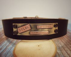 Dog collar personalized collar leather collar. by VacForPets