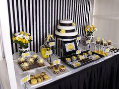 Black, White & Yellow Birthday Party Fabulous dessert table in black, white and yellow Birthday Party Table Decorations, Birthday Party Tables, Party Themes, Party Ideas, 60 Birthday, Birthday Ideas, White Dessert Tables, Gold Dessert, Yellow Desserts