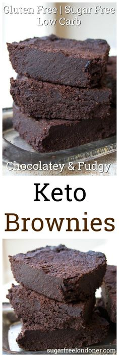 Fabulously Fudgy Keto Brownies The fudgiest, most chocolatey Keto brownies ever. This simple low carb and sugar free recipe makes perfect brownies time after time. Gluten free and diabetic-friendly. Desserts Keto, Desserts Sains, Sugar Free Desserts, Sugar Free Recipes, Keto Snacks, Low Carb Recipes, Baking Recipes, Snacks Recipes, Paleo Dessert