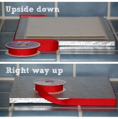 Standard ribbon is often too wide for the edge of a cake board, so glue a simple cardboard square to the bottom of your board and now the board will sit up off the counter enough to allow for the thicker ribbon! Cake Decorating Techniques, Cake Decorating Tutorials, Cookie Decorating, Decorating Ideas, Fondant Cakes, Cupcake Cakes, Cupcakes, Fondant Tips, Cake Accessories