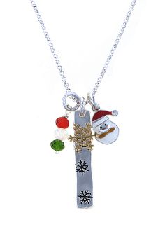 CHRISTMAS SANTA CHARM PENDANT NECKLACE SET