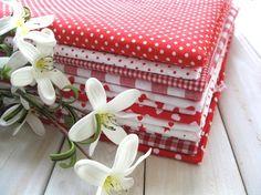 Zakka Sweet Red White Nautical Stripes, Stars, Hearts, Checks & Polka Dots....More Sweet Fabric