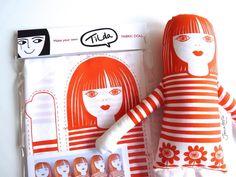 Retro Tilda Doll Kit by Jane Foster  - screen printed fabric