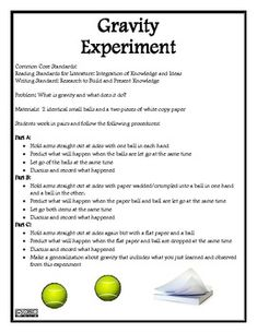 This is a great Gravity Activity, Experiment, and Assessment that is filled with opportunities for your students to learn about gravity and a variety of math concepts as well. 1st Grade Science, Elementary Science, Teaching Science, Science Education, Teaching Ideas, Gravity Experiments, Gravity Science, Science Experiments Kids, Moon Activities