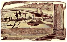 """""""Daydreamers at Happisburgh"""" - wood engraving by Neil Bousfield"""