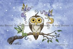 """""""Owl and Fairies"""" Little Owls postcard set by Amy Brown by AmyBrownArt on Etsy"""