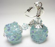 Artisan Lampwork Earrings Teal Earrings Turquoise  Earrings 925 Sterling Silver Drop Earrings Antique Blue Green Earrings Delicate Earrings by NataliaKh on Etsy