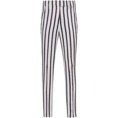 Dondup Regine Stripes Beige // Striped viscose pants ($345) ❤ liked on Polyvore featuring pants, bottoms, trousers, jeans, striped trousers, beige trousers, white trousers, dondup and cropped pants