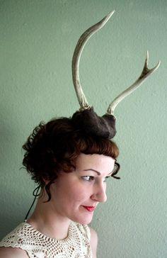 Deer Antler Headband  brown base with two prong by doublespeak, $70.00 www.etsy.com/shop/doublespeak