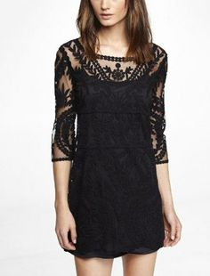 Bonus: you can wear it to New Year's brunch the next day with a floppy felt hat and flat over-the-knee boots.  EMBROIDERED LACE SHIFT DRESS, $88, EXPRESS.COM