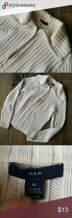 """GAP FULL ZIPUP SWEATER Cream ribbed full zip up sweater Neck lays flat on shoulders Zipper end is a loop Laid flat armpit to armpit is 17""""  Shoulder to hem is 21"""" No rips or pilling Smoke free home GAP Sweaters"""