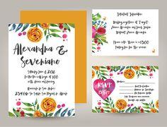 Set Blue Mexican Fiesta Frida Kahlo Floral Wedding by vivalapress