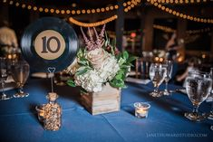 Vinyl record table numbers for a musical wedding