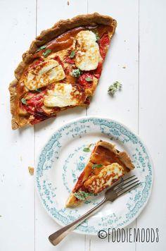 recept hartige taart geroosterde paprika en halloumi foodiemoods